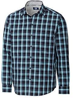Cutter & Buck Men's Long Sleeve Non-Iron Plaid Spread Collar Dress Shirt