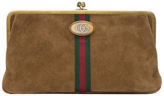 Gucci Brown Suede Ophidia Clutch