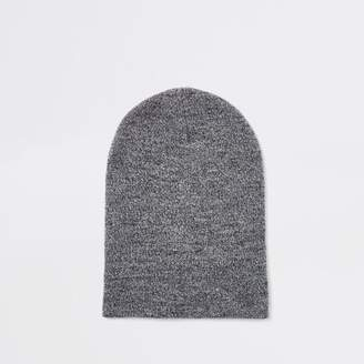 River Island Light grey twist slouch beanie hat