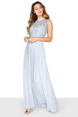 Little Mistress Grey Pleated Maxi Dress