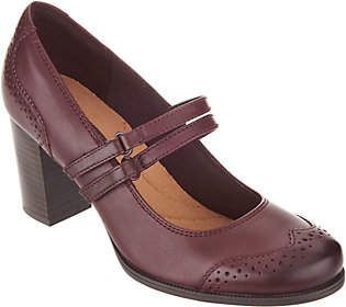 Clarks Leather Stacked Heel Mary Janes -Claeson Tilly