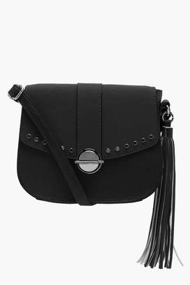 boohoo Suedette Stud & Lock Cross Body