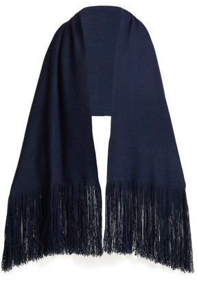 Denis Colomb Fringed Cashmere Shawl - Womens - Dark Blue