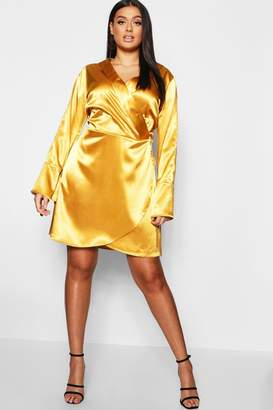 boohoo Plus Wrap Split Sleeve Satin Dress
