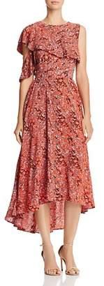 Maje Rivele Leopard Print High/Low Midi Dress