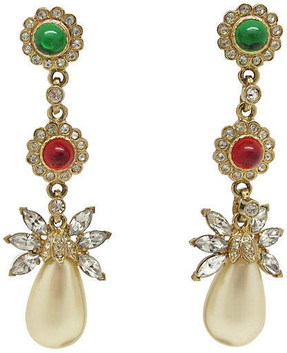 One Kings Lane Vintage Kenneth Lane Floral Design Earrings