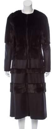 Oscar de la Renta Mink Fur and Suede Coat w/ Tags