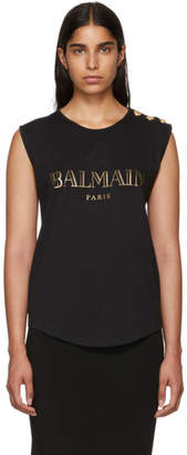 Balmain Black Sleeveless T-Shirt