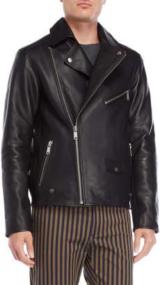 Scotch & Soda Pebbled Leather Biker Jacket