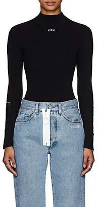 Off-White Women's Distressed Rib-Knit Top - Black