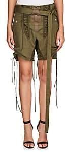 Saint Laurent Women's Cotton-Linen Twill Lace-Up Shorts - Green