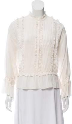 Ulla Johnson Silk Pleated Ruffle-Trimmed Long Sleeve Top