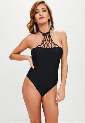 Missguided Strappy High Neck Swimsuit