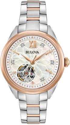 Bulova Women's Automatic Diamond Accent Two-Tone Stainless Steel Bracelet Watch 34mm 98P170 $495 thestylecure.com