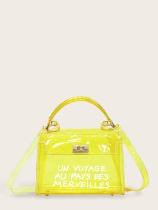 Shein Slogan Print Flap Satchel Bag