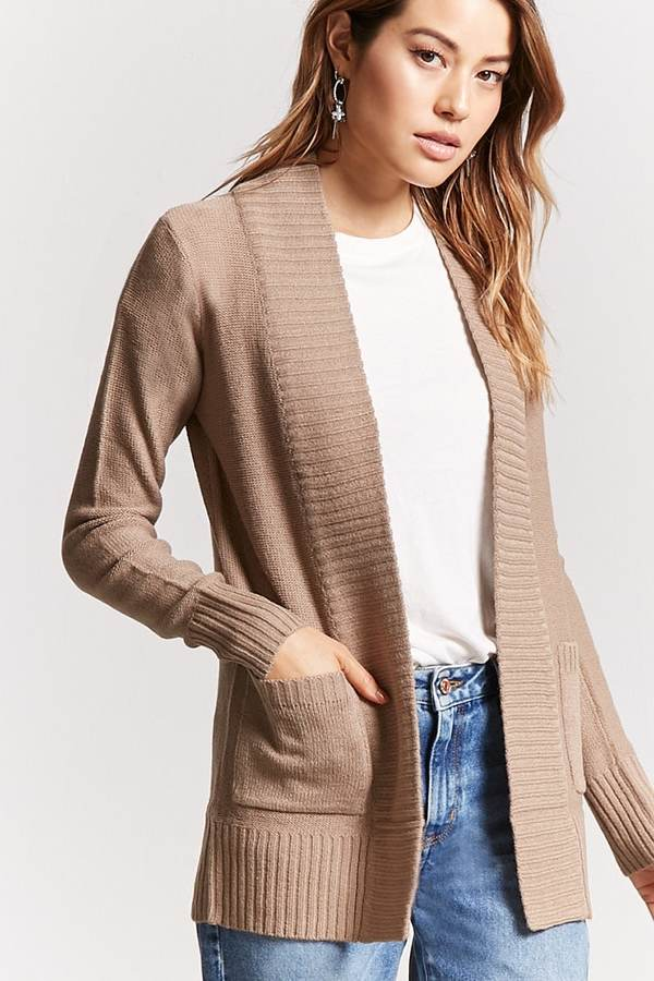 FOREVER 21 Longline Knit Open-Front Cardigan