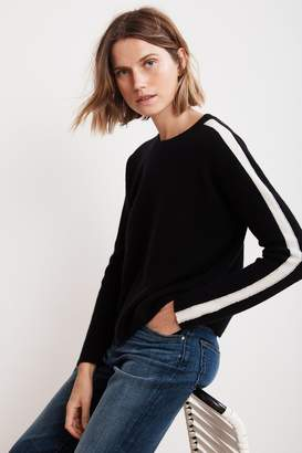 Velvet by Graham & Spencer CHYNNA STRIPE CASHMERE CROPPED SWEATER