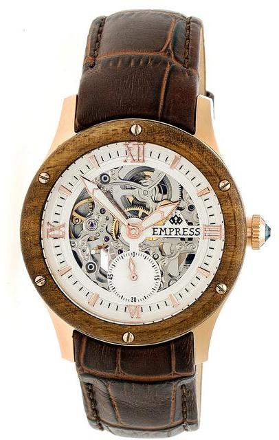 Empress Victoria EMPEM1707 Women's Rose Gold and Brown Leather Automatic Watch