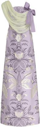 DELPOZO Fil Coupé Floral Jacquard Dress