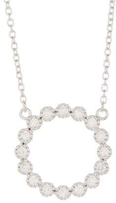 Argentovivo Sterling Silver CZ Open Circle Pendant Necklace