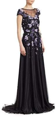 Theia Women's Embellished Cap-Sleeve Gown - Black Violet - Size 8