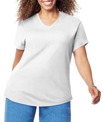 Just My Size Women's Plus-Size Short Sleeve V-Neck T-shirt