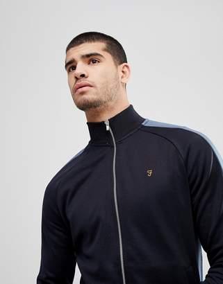 Farah Irk Slim Fit Tricot Zip Through Sweat Jacket in Navy