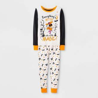 Mickey Mouse & Friends Girls' Minnie Mouse Halloween 2pc Pajama Set - White