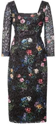 Monique Lhuillier floral embroidered square neck dress