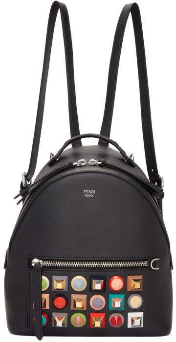 Fendi Black Mini Rainbow Zaino Backpack