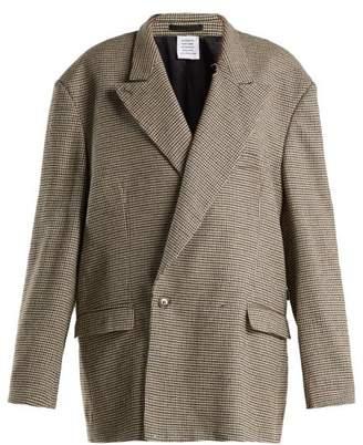 Vetements - Oversized Double Breasted Tweed Blazer - Womens - Brown Multi