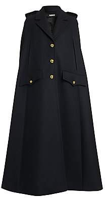 Miu Miu Women's Long Virgin Wool Cape Coat
