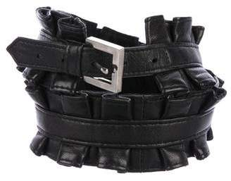 Kiki de Montparnasse Leather Ruffle Waist Belt