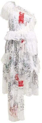 Preen by Thornton Bregazzi Giselle Asymmetric Embroidered Tulle Dress - Womens - White Multi