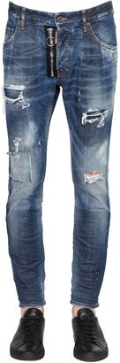 16cm Zip Skater Distressed Stretch Jeans $690 thestylecure.com