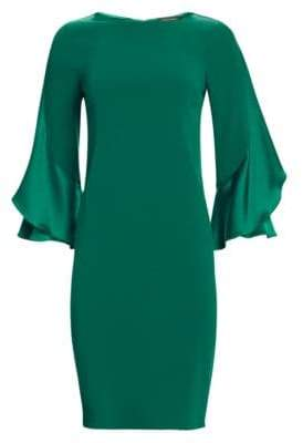 Teri Jon by Rickie Freeman by Rickie Freeman Women's Ruffle-Sleeve Shift Dress - Emerald - Size 4