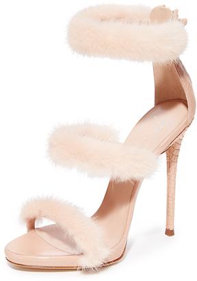 Giuseppe Zanotti Coline Sandal Heel with Fur $1,150 thestylecure.com