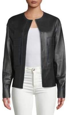 DKNY Flap Pocket Leather Jacket
