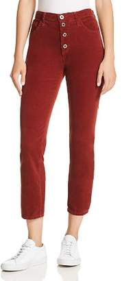 AG Jeans Isabelle Straight Corduroy Jeans in Tannic Red