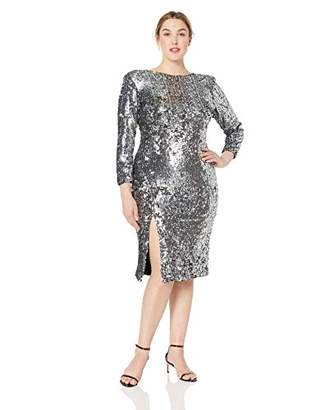 Dress the Population Women's Size Natalie Long Sleeve Stretch Sequin Midi Sheath Dress Plus