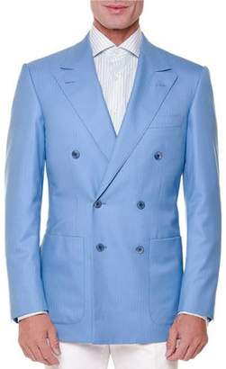 Stefano Ricci Tonal-Stripe Double-Breasted Sport Coat, Light Blue $5,850 thestylecure.com