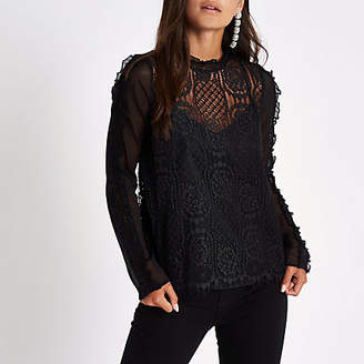 River Island Petite black frill sleeve lace top