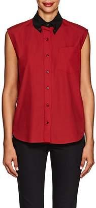 Prada Women's Contrast-Collar Cotton Blouse