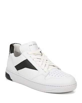 Via Spiga Lowrie Silky Leather Mid-Top Sneakers