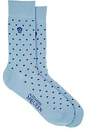 Alexander McQueen MEN'S SKULL-MOTIF POLKA DOT COTTON-BLEND SOCKS-BLUE