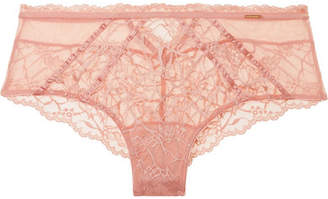 Chantelle Segur Satin-trimmed Lace And Tulle Briefs - Blush