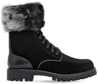 Rene Caovilla 30mm Velvet & Mink Boots