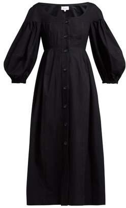 Isa Arfen Portofino Balloon Sleeve Cotton Midi Dress - Womens - Black