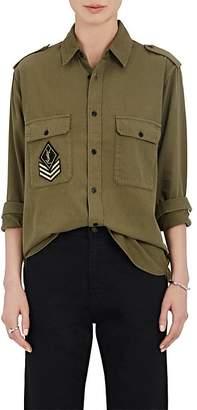 Saint Laurent Women's Sergeant-Patch Cotton Twill Shirt
