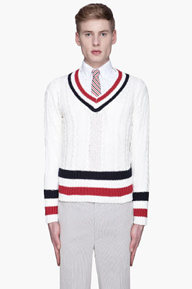 Thom Browne White cricket striped cableknit prep sweater